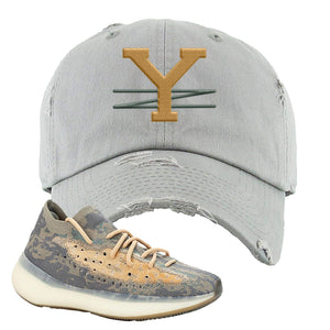 Yeezy Boost 380 Mist Sneaker Light Gray Distressed Dad Hat | Hat to match Adidas Yeezy Boost 380 Mist Shoes | YZ