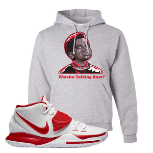 Kyrie 6 White University Red Hoodie | Watchu Talking Bout, Ash