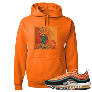 Printed on the front of the Air Max 97 Sunburst Safety Orange Sneaker Matching Pullover Hoodie is the Vintage Egyptian logo