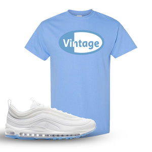 Air Max 97 White/Ice Blue/White Sneaker Carolina Blue T Shirt | Tees to match Nike Air Max 97 White/Ice Blue/White Shoes | Vintage Oval