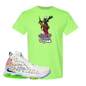 Lebron 17 Air Command Force T Shirt | Neon Green, Dont Hate The Player