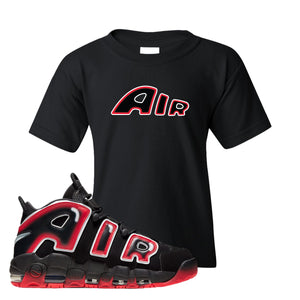 Air More Uptempo Laser Crimson Kid's T Shirt | Black, Air From The Sneaker