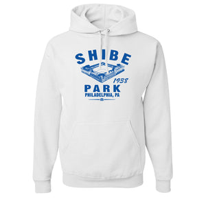 Shibe Park Retro Pullover Hoodie | Shibe Park Vintage White Pull Over Hoodie, the front of this hoodie has shibe park and the text in blue along with the year the phillies joined