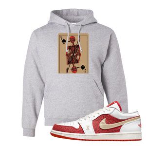 Air Jordan 1 Low Spades Hoodie | Bone Cards, Ash