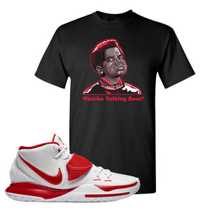 Kyrie 6 White University Red T Shirt | Watchu Talking Bout, Black
