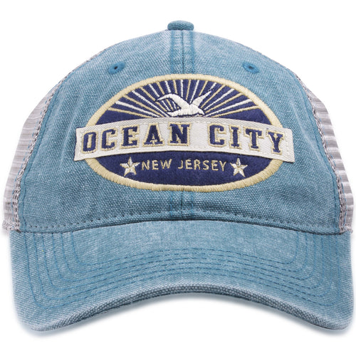 Ocean City, New Jersey Seagull Sunset Blue / Gray Mesh-Back Trucker Hat