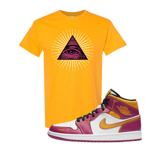 Air Jordan 1 Mid Familia T Shirt | All Seeing Eye, Gold