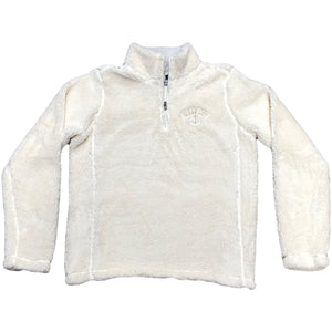 The ivory Ocean City New Jersey sherpa quarter zip is a cream color with an embroidered logo on the left chest