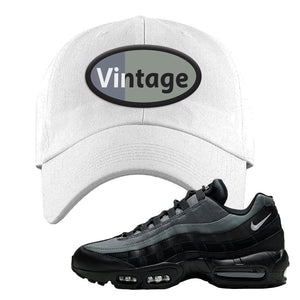 Air Max 95 Black Smoke Grey Dad Hat | Vintage Oval, White
