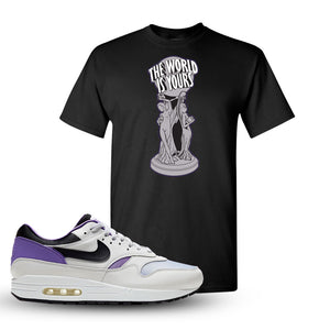 Air Max 1 DNA Series Sneaker Black T Shirt | Tees to match Nike Air Max 1 DNA Series Shoes | The World Is Yours Statue