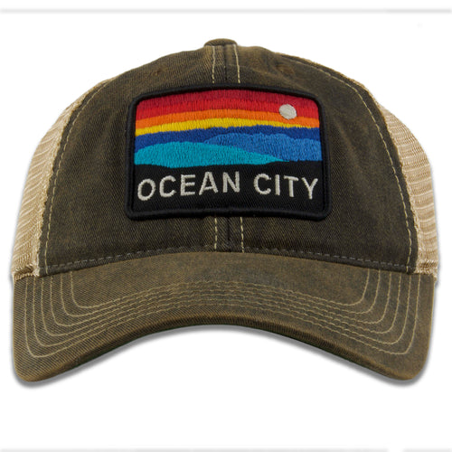 "Ocean City ""The Horizon"" Black / Khaki Mesh-Back Youth Sized Trucker Hat"