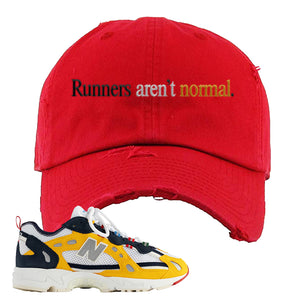 827 Abzorb Multicolor Yellow Aime Leon Dore Sneaker Red Distressed Dad Hat | Hat to match 827 Abzorb Multicolor Yellow Aime Leon Dore Shoes | Runner's Aren't Normal
