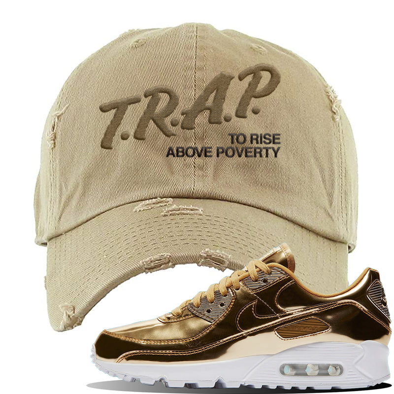 Air Max 90 WMNS 'Medal Pack' Gold Sneaker Khaki Distressed Hat | Hat to match Nike Air Max 90 WMNS 'Medal Pack' Gold Shoes | Trap to Rise Above