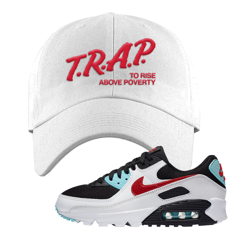 Air Max 90 Bleached Aqua and Chile Red Dad Hat | White, Trap To Rise Above Poverty