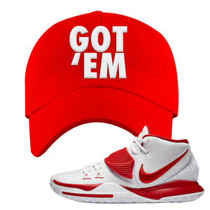 Kyrie 6 White University Red Dad Hat | Got Em, Red