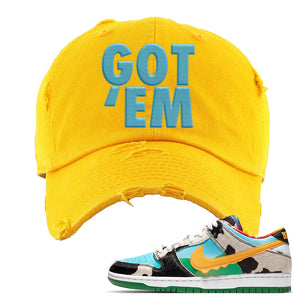 SB Dunk Low 'Chunky Dunky' Distressed Dad Hat | Gold, Got Em