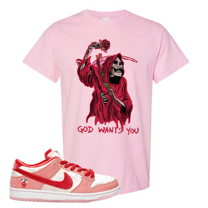 SB Dunk Low 'StrangeLove' Matching Sneaker T-Shirt | StrangeLove x Nike | God Wants You Reaper, Light Pink