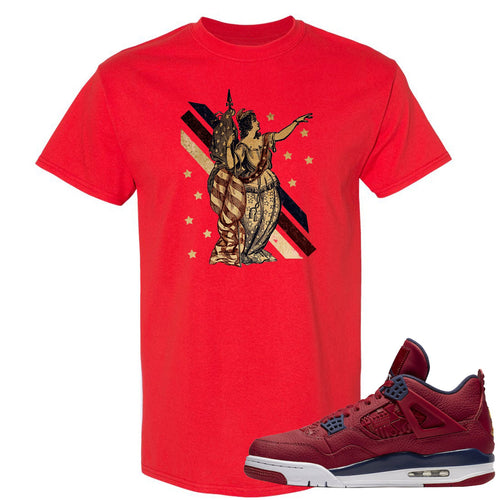 Jordan 4 FIBA Lady Liberty Red Sneaker Matching Tee Shirt