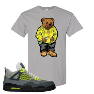 Jordan 4 Neon Sneaker Gravel T Shirt | Tees to match Nike Air Jordan 4 Neon Shoes | Sweater Bear