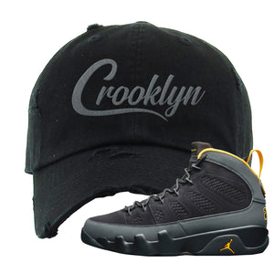 Air Jordan 9 Charcoal University Gold Distressed Dad Hat | Crooklyn, Black