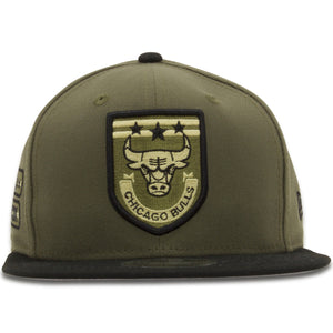 Embroidered on the front of the Chicago Bulls Military Green / Black 9Fifty Snapback Hat is a patch logo with the Chicago Bulls logo and 3 stars