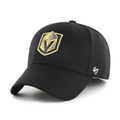 Embroidered on the front of the Golden Knights black stretch fit cap is the Las Vegas Golden Knights logo embroidered in gold and black, on the left size the '47 brand logo is embroidered in white