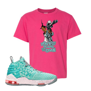 Lebron 17 South Beach Kids T-Shirt | Dont Hate the Playa, Heliconia