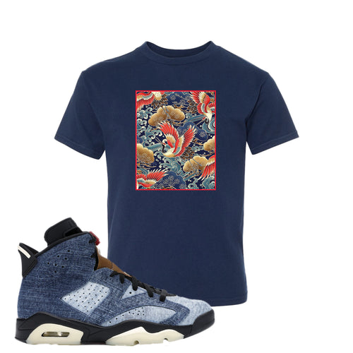 Air Jordan 6 Washed Denim Crane Over Water Navy Blue Sneaker Hook Up Kid's T-Shirt