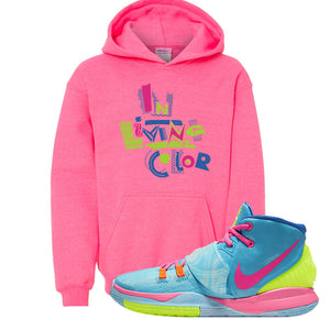 Kyrie 6 Pool Kids Pullover Hoodie | In Living Colors, Safety Pink
