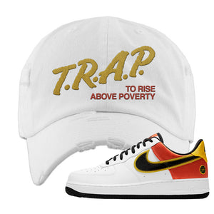 Air Force 1 Low Roswell Rayguns Distressed Dad Hat | Trap To Rise Above Poverty, White
