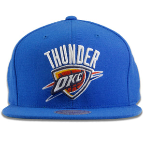 Thunder Snapback | Oklahoma City Thunder Solid Blue Snap Cap | Green Bottom | OSFM