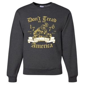 Standard Issue Don't Tread On Me Snake with Skull Gray Grunt Life Crewneck Sweater