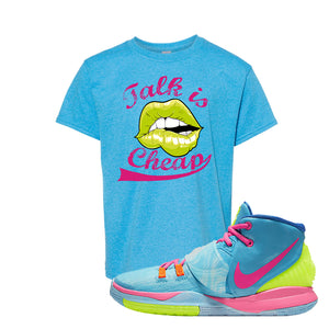 Kyrie 6 Pool Kids T Shirt | Heather Sapphire, Talk is Cheap