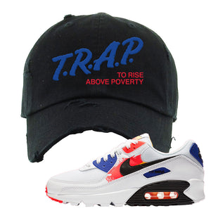 Air Max 90 Paint Streaks Distressed Dad Hat | Trap To Rise Above Poverty, Black