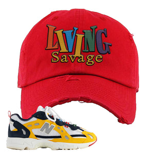 827 Abzorb Multicolor Yellow Aime Leon Dore Sneaker Red Distressed Dad Hat | Hat to match 827 Abzorb Multicolor Yellow Aime Leon Dore Shoes | Living Savage
