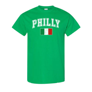 Philly Italian Flag T-Shirt | Philly Italian Flag Kelly Green T-Shirt the front of this shirt has the philly italian flag on it