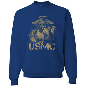 Standard Issue Distressed USMC Royal Blue Grunt Life Crewneck Sweater