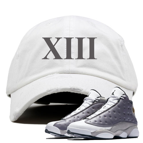 Jordan 13 Atmosphere Grey XIII White Distressed Dad Hat