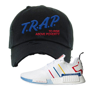 NMD R1 Olympic Pack Distressed Dad Hat | Black, Trap To Rise Above Poverty