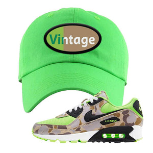 Air Max 90 Duck Camo Ghost Green Dad Hat | Neon Green, Vintage Oval