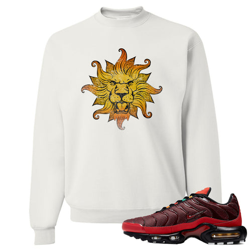 Printed on the front of the air max plus sunburst sneaker matching white crewneck sweatshirt is the vintage lion head logo