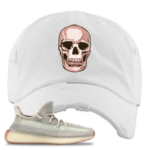 Yeezy Boost 350 V2 Citrin Non-Reflective Skull White Sneaker Matching Distressed Dad Hat