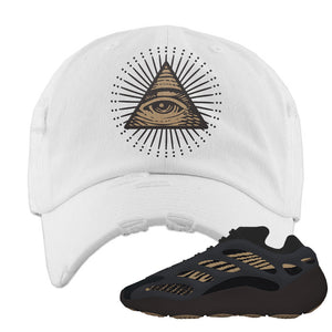 Yeezy 700 v3 Eremial Distressed Dad Hat | All Seeing Eye, White