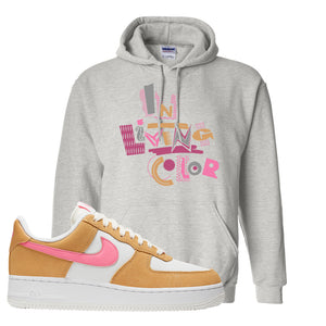 Nike Air Force 1 Pink Orange Hoodie | In Living Color, Ash