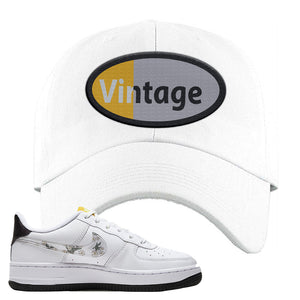 Air Force 1 Dad Hat | White, Vintage Oval