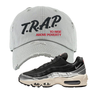 3M x Nike Air Max 95 Silver and Black Distressed Dad Hat | Trap To Rise Above Poverty, Light Gray