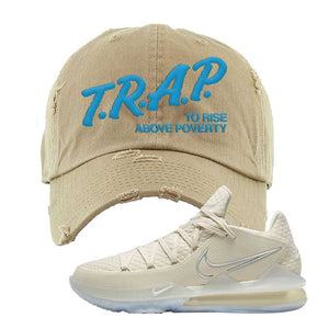 Lebron 17 Low Bone Distressed Dad Hat | Khaki, Trap To Rise Above Poverty