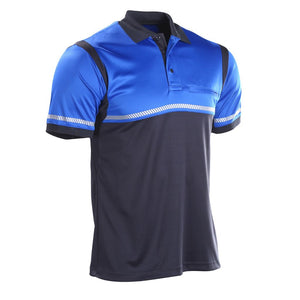 the Police Public Safety | Tactical Reflective Police Security Polo Shirt | Bicycle Cop Performance Material UFX Blue and Navy Shirt is made of a shiny nylon performance fabric