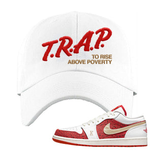 Air Jordan 1 Low Spades Dad Hat | Trap To Rise Above Poverty, White