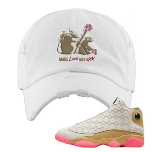 Jordan 13 Chinese New Year Distressed Dad Hat | White, Army Rats